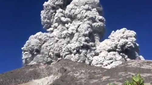 Shopan Pangestu filmed the moment the volcano spewed sand and pyroclastic material. Picture: Instagram