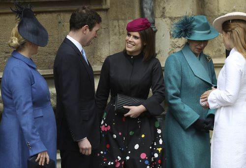Zara Tindall (left) and Princess Eugenie looking regal and heavily pregnant at the Easter Sunday service. (AAP)