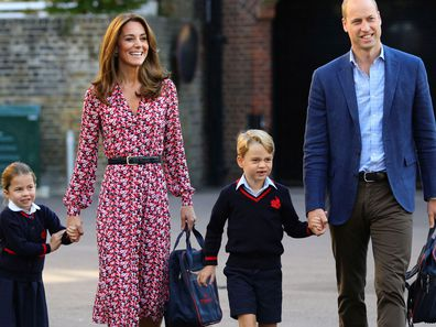 Britain's Princess Charlotte, left, with her brother Prince George and their parents Prince William and Kate, Duchess of Cambridge, arrives for her first day of school at Thomas's Battersea in London, Thursday Sept. 5, 2019