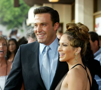 """Jennifer Lopez and actor Ben Affleck attend the premiere of Revolution Studios' and Columbia Pictures' film """"Gigli"""" at the Mann National Theatre July 27, 2003 in Westwood, California.  """"Gigli"""" opens nationwide on August 1, 2003."""