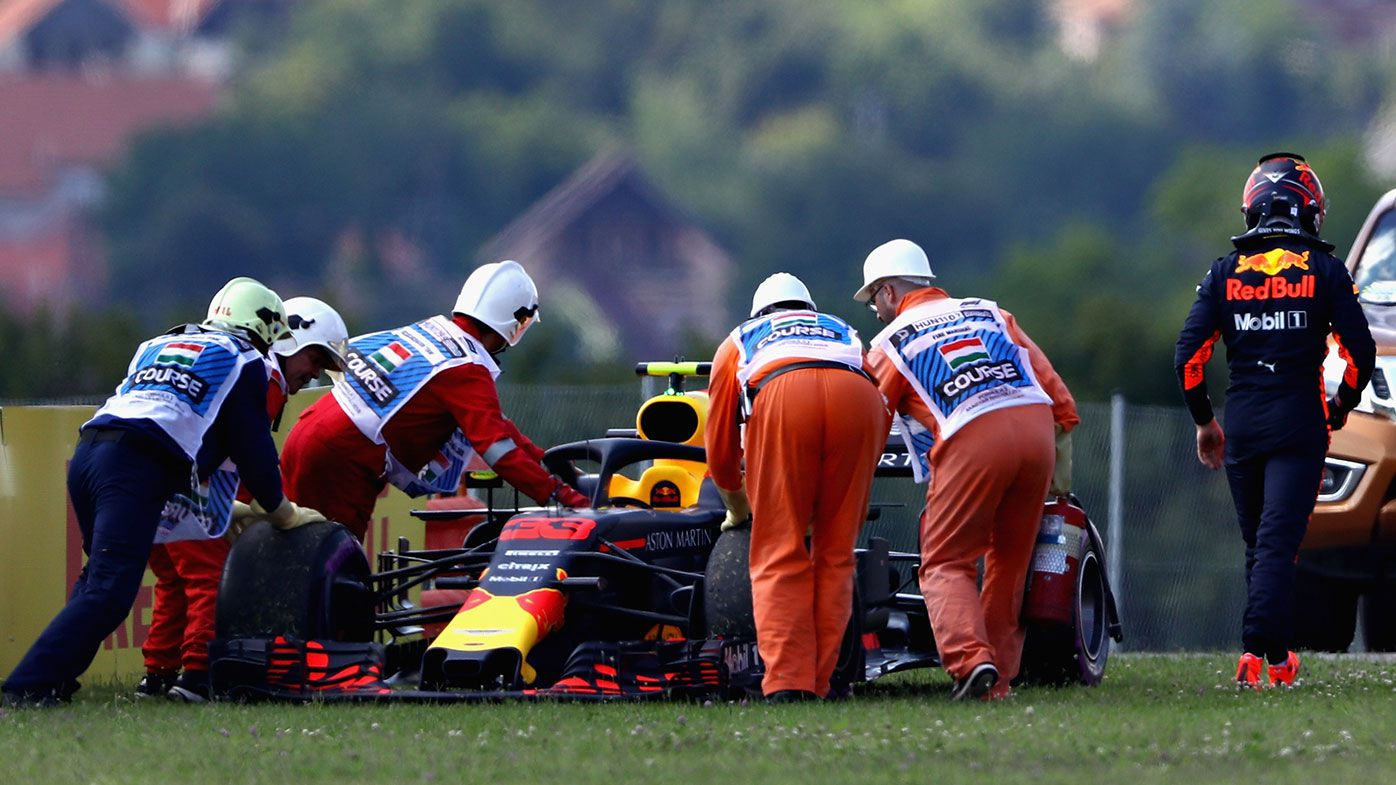 Max Verstappen retires his Red Bull from the Hungarian Grand Prix