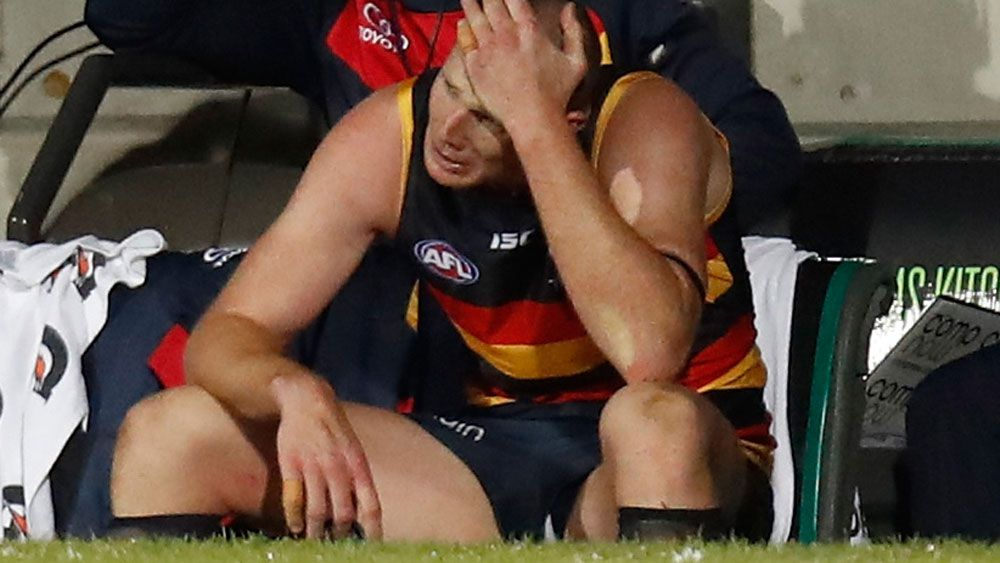 Adelaide Crows ruckman Sam Jacobs during an emotional moment at the Adelaide Oval. (Getty Images)