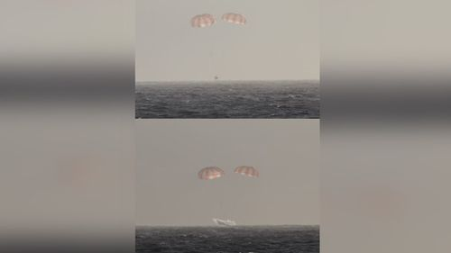 A picture tweeted by Space X founder Elon Musk of the unmanned cargo spacecraft Dragon returning to Earth in waters just off California. (Twitter)