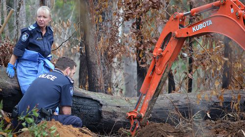 Queensland police officers excavate a site in the search for the body of missing woman Linda Sidon in Nurimbah, in the Gold Coast hinterland in 2015.