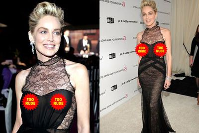 Peek-a-boo(b)! Sharon Stone seems oblivious to her exposed nips, as she arrives at the 17th Annual Elton John AIDS Foundation Oscar Party in 2009. <br/>