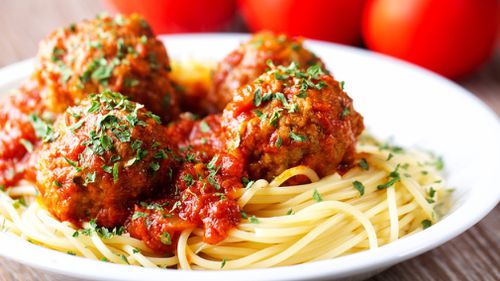 Pork and veal mince can be combined for scrumptious spaghetti and meatballs.