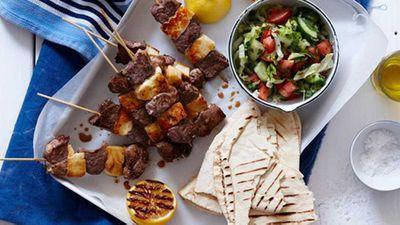 "<a href=""http://kitchen.nine.com.au/2016/05/16/15/36/lamb-and-haloumi-kebabs"" target=""_top"">Lamb and haloumi kebabs</a> recipe"