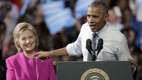 President Barack Obama campaigns for Hillary Clinton in Charlotte, North Carolina. (AP)