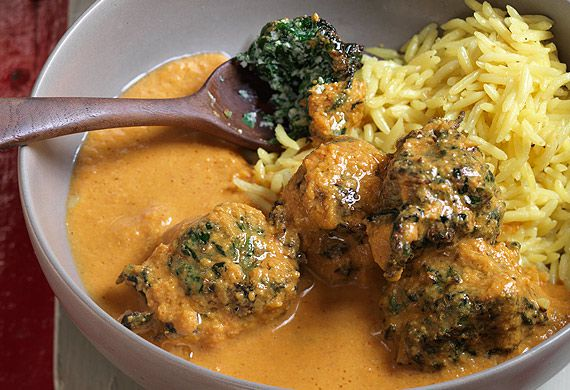 Anjum Anand's fluffy spinach koftas in a creamy tomato curry