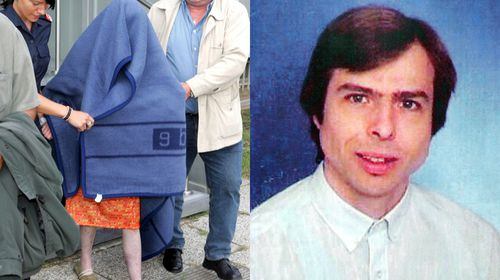Natascha Kampusch (left, hidden by police) was 18 when she escaped on 23 August 2006. That same day, her kidnapper, Wolfgang Priklopil (right), killed himself by stepping in front of a moving train. (AAP)