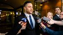 Jarryd Hayne speaks to the media outside Downing Centre Courts after a guilty verdict.