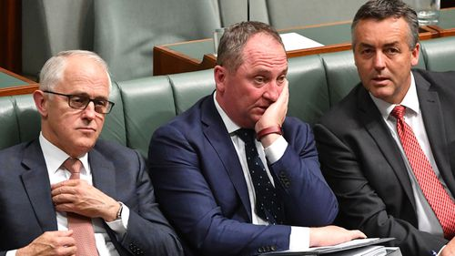 Prime Minister Malcolm Turnbull, Deputy Prime Minister Barnaby Joyce and Minister for Infrastructure Darren Chester (AAP Image/Mick Tsikas)