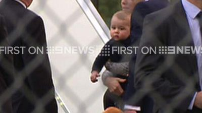 The first glance of Prince George at Sydney Airport.