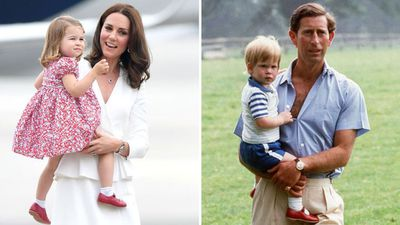 Princess Charlotte on tour in Poland, 2017; Prince Harry at Highgrove, 1986