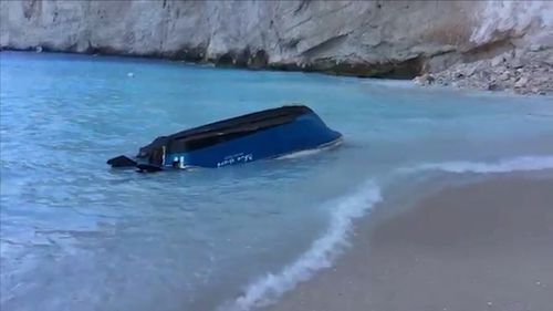 Small boats at the beach were capsized as a result of the fall sparking big waves.
