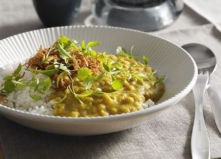 Dhal with coriander and fried onion