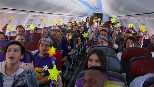 Starlight's corporate partner Virgin Australia helps grant wishes by providing flights for families. Picture: 9NEWS