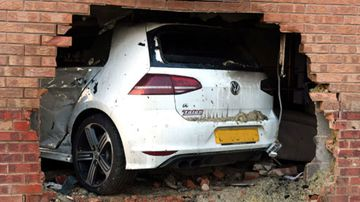 The car smashed into a family home in York, northern England. (Photo: North Yorkshire Police).