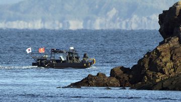 A South Korean marine boat patrols near Yeonpyeong Island, South Korea.
