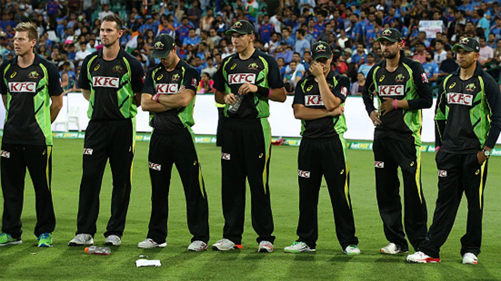 Australia players during the trophy presentations after losing their T20 series to India. (Getty)