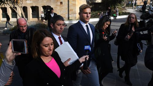 Jack de Belin did not comment as he left Wollongong Local Court today.