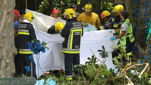 Firefighters hold a blanket as bodies are removed from the scene where a tree fell on a large crowd on the outskirts of Funchal, the capital of Madeira island. (AAP)