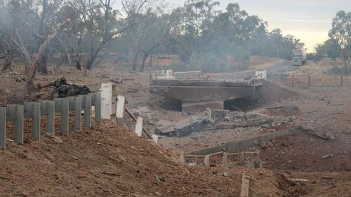 A bridge has been destroyed after a truck explosion near Charleville. (QLD Police)