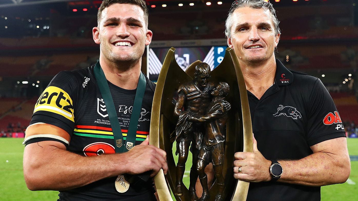 Penrith coach Ivan Cleary with son Nathan after the grand final win over Souths.