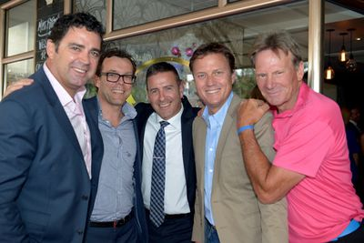 <i>The AFL Footy Show</i>'s Garry Lyon, Damian Barrett, Nine Managing Director Ian Paterson, <i>AFL Footy</i>'s James Brayshaw and Sam Newman.