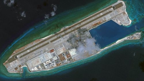 DigitalGlobe overview imagery of the Fiery Cross Reef located in the South China Sea. Fiery Cross is located in the western part of the Spratly Islands group.