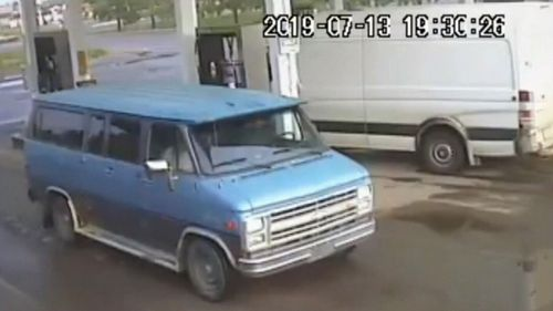 The blue 1986 Chevrolet van Lucas and his partner Chynna were travelling in.