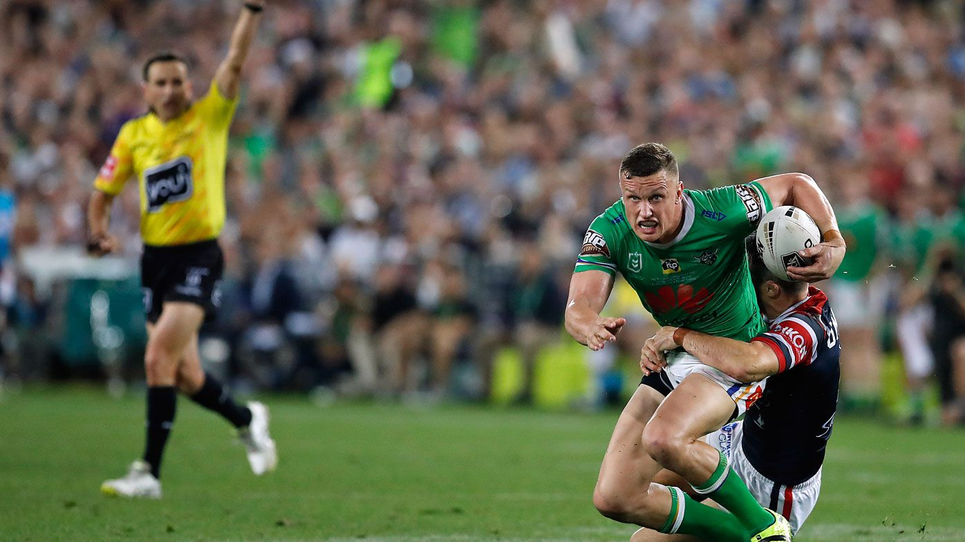 Clive Churchill Medallist Jack Wighton reacts to crucial ref call in NRL grand final