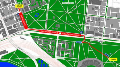 The Grand Final Parade route. (AFL)
