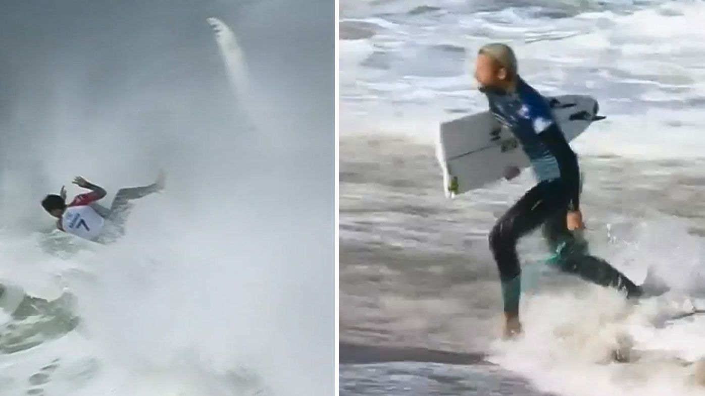 Surfers endure wipeouts and broken boards in 'scary' conditions at Bells Beach