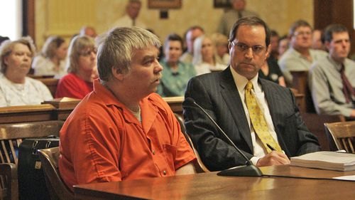 In this June 1, 2007 file photo, Steven Avery, left, appears during his sentencing as his attorney Jerome Buting listens at the Manitowoc County Courthouse in Manitowoc, Wisconsin.