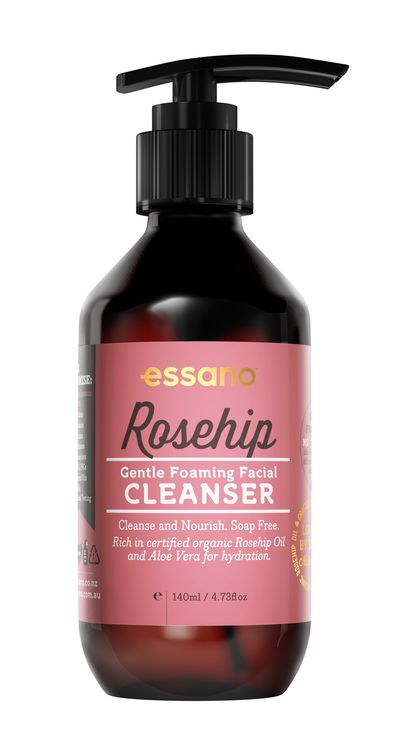"<a href=""https://www.woolworths.com.au/Shop/Browse/toiletries-beauty-health-wellbeing/face-cleansing-makeup-removal?name=essano-rosehip-gentle-facial-cleanser&amp;productId=772365"" target=""_blank"">Essano</a> Rosehip Gentle Foaming Facial Cleanser, $14.99."