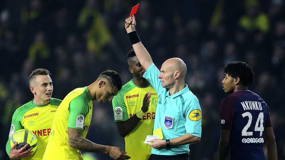 French referee Tony Chapron banned for six months for kicking at Nantes' Diego Carlos in Ligue 1