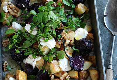 Potato, baby beetroot and walnut salad