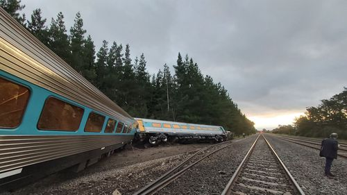 Wallan train derailment image posted to Twitter by Dr Scott Rickard