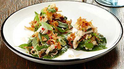 "Gary Mehigan's <a href=""http://kitchen.nine.com.au/2016/05/05/12/55/gary-mehigans-chicken-laab-betel-leaves"" target=""_top"">chicken laab betel leaves</a> recipe"