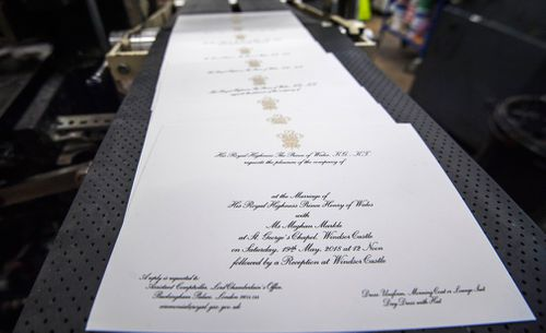 The invites are embossed with American ink on English card, a nod to both Meghan and Harry's backgrounds. (PA/AAP)