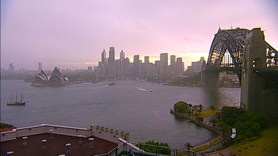 The Sydney CBD during the storms. (9NEWS)