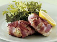 Chicken patties wrapped in bacon