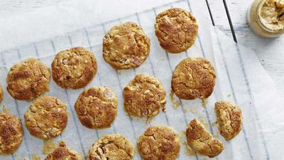 "Recipe:&nbsp;<a href=""https://kitchen.nine.com.au/2016/12/14/13/43/bacon-and-peanut-butter-cookies"" target=""_top"">Bacon and peanut butter cookies</a>"