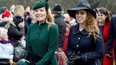 Autumn Phillips and Princess Beatrice arrive to attend the Christmas Day morning church service at St Mary Magdalene Church in Sandringham, Norfolk.