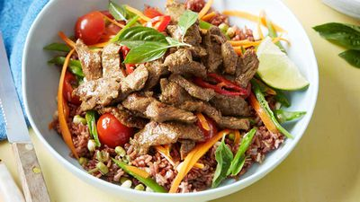 "Recipe: <a href=""http://kitchen.nine.com.au/2017/03/28/10/12/thai-beef-power-bowl"" target=""_top"">Thai beef power bowl</a>"