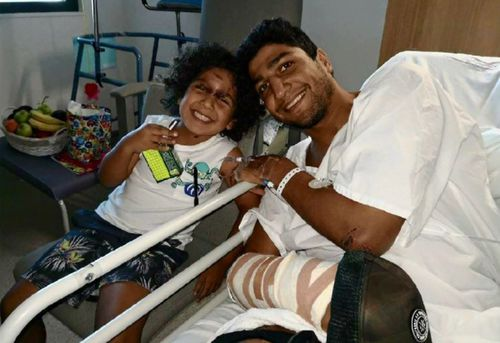 Hamid with Eli-Luca in the hospital.