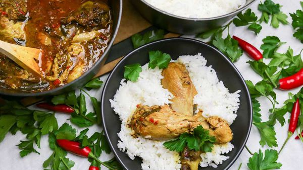 The Alatini's Chicken Masala with Roti and Rice