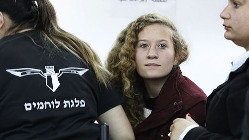 Tamimi appears at a military court at the Israeli-run Ofer prison. (AAP)