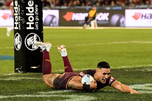 Not even an 80-metre sprint and try b y Queensland's Valentine Holmes could stop the Blues from surging ahead though. Picture: AAP.